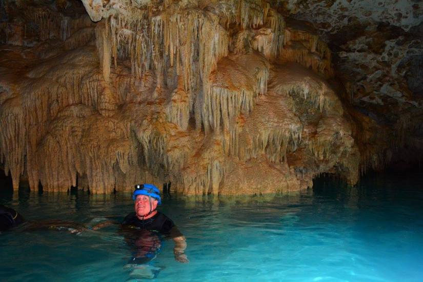 Kenny caving in Mexico
